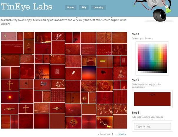 rechercher des images d'une couleur donnée