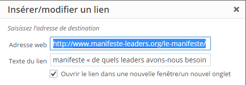 définir un lien wordpress