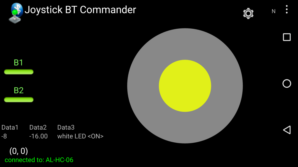 Ecran de l'application Bluetooth Android vers Arduino