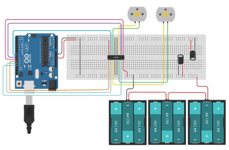 Le schéma du NoRobo avec arduino, moteurs DC et L293D