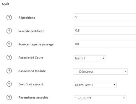 association d'un certificat à un quiz