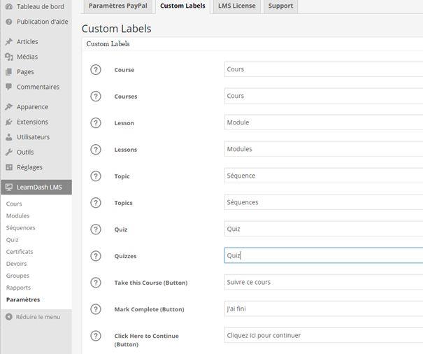 "Learndash : régler les ""custom labels"""
