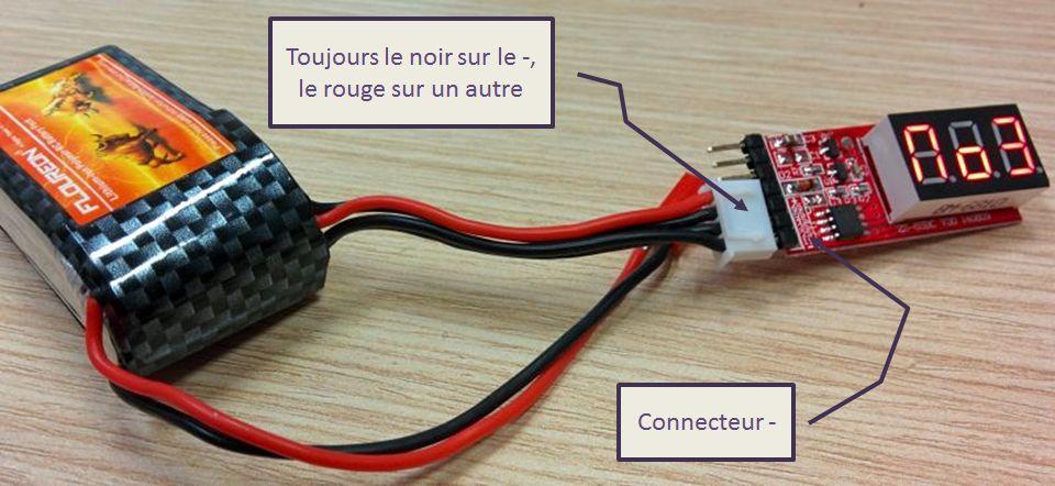 Connexion d'une batterie Lipo 3S au testeur