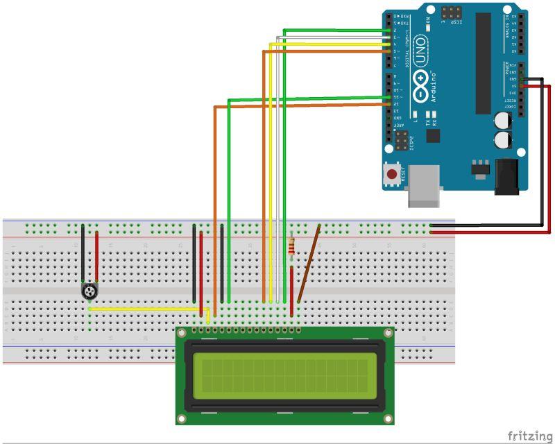 Cablage Arduino Afficheur LCD