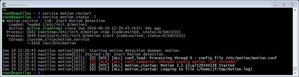Motion bien configuré sur Raspberry Pi