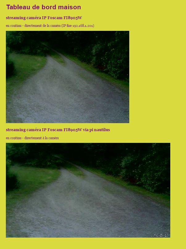 affichage (embed) du flux motion