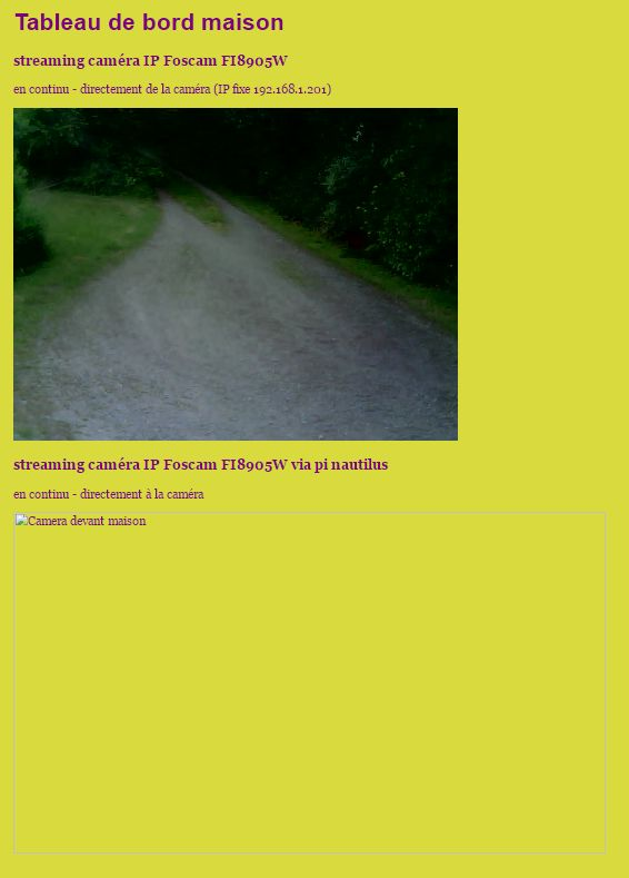 page web de test et deboguage de motion sur Raspberry Pi