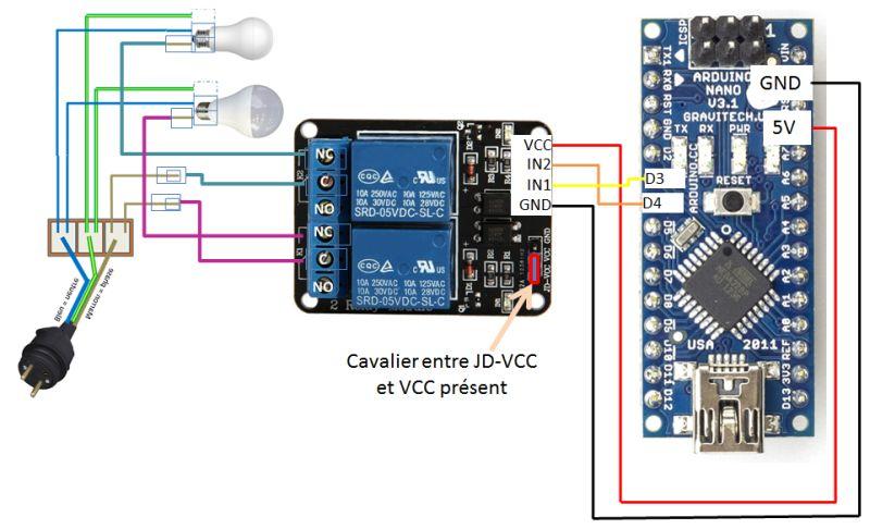 relais arduino 5V - 220V lampes
