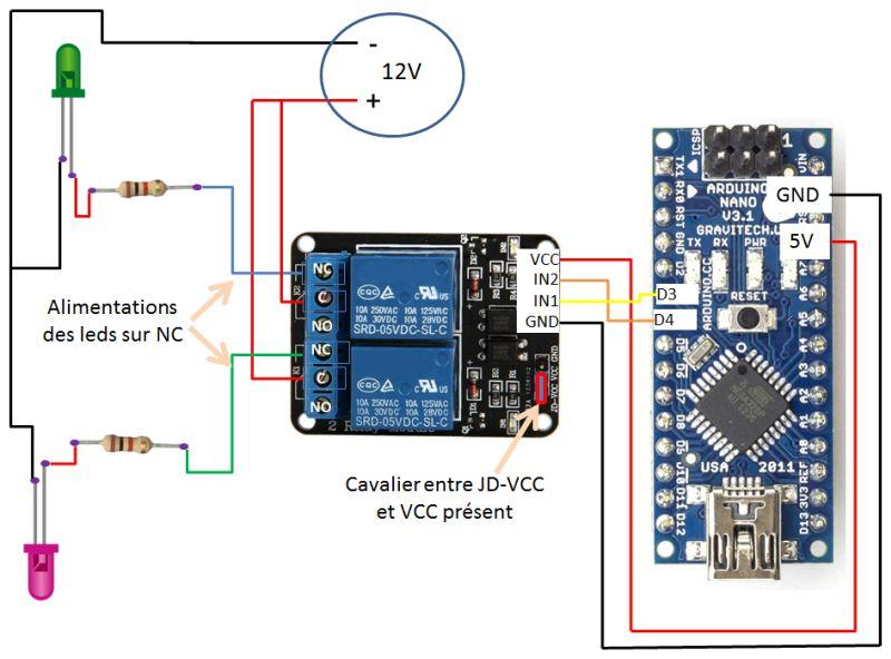 relais et alimentation 12V correctement branchée