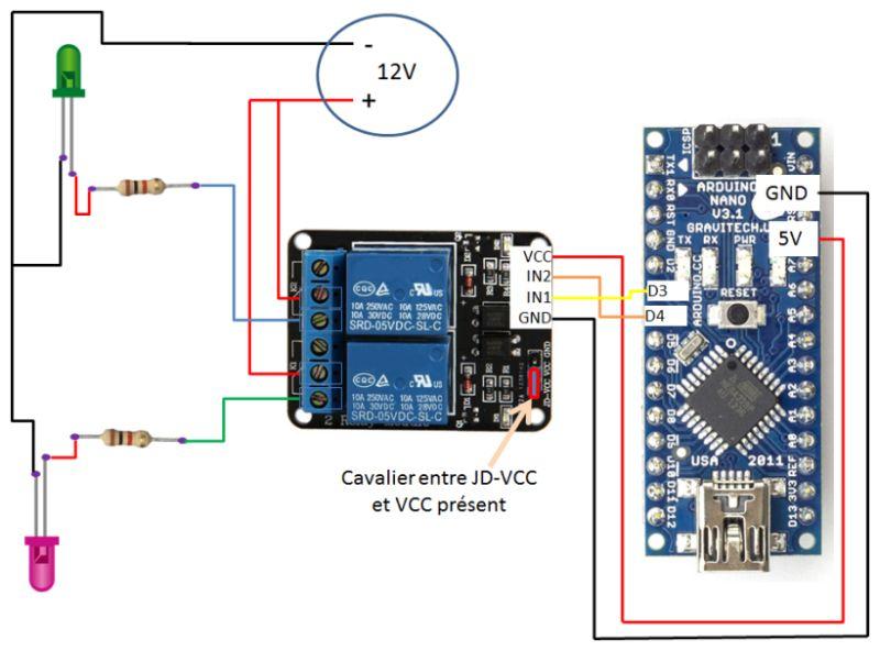 relais et led alimentées en 12V