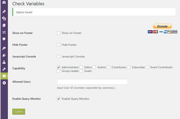 Réglage de Check Variable pour affichage dans l'écran Query Monitor