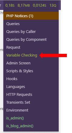 Le menu de Query Monitor avec un élément Check Variable