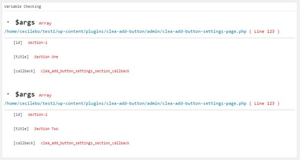 Affichage de Check Variable dans la page Query Monitor