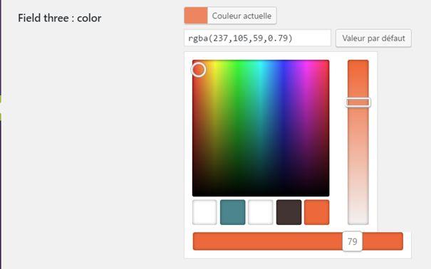 Choix d'une couleur de la palette puis réglage de la transparence