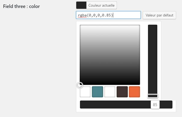 "Le champ ""color"" affiche un ""color picker"" complet."
