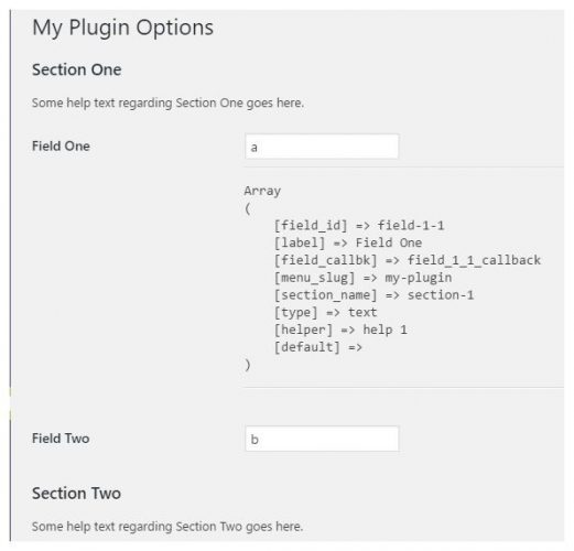 Page de réglage d'une extension WordPress : affichage des arguments de add_settings_field
