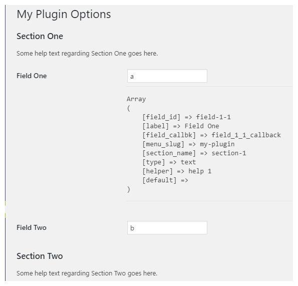 Page de réglage d'une extension WordPress : affichage des arguments de add_settings_field