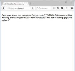 Erreur fatale avec wp-config.php réglé pour que debug true