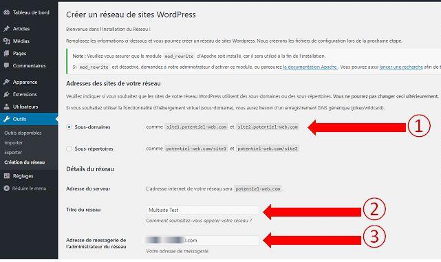 Régler et activité un WordPress Multisite