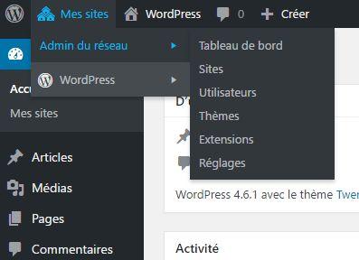 "Menu ""admin du réseau de WordPress mutisite"
