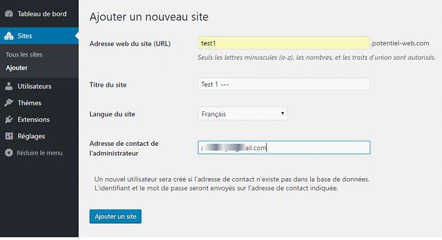 Création d'un nouveau site dans un WordPress mutisite