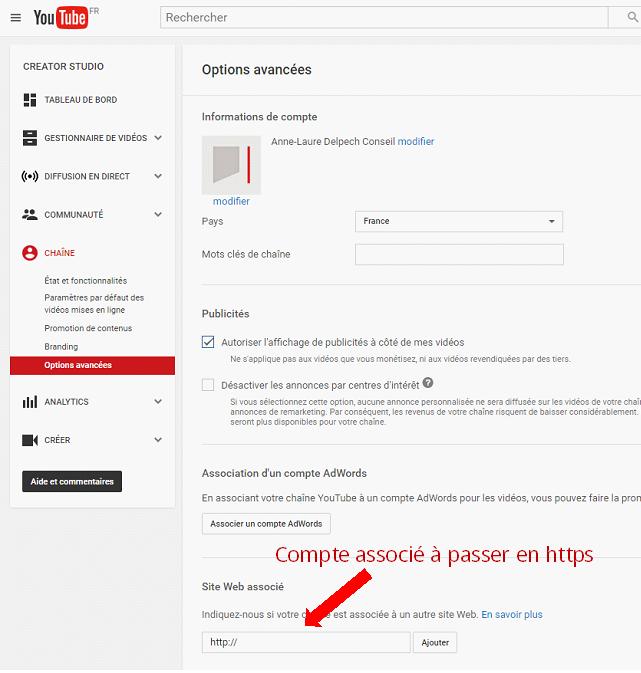 Modifier le compte associé à Youtube