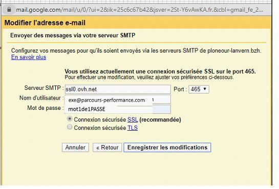 Serveur smtp adresse OVH dans Gmail