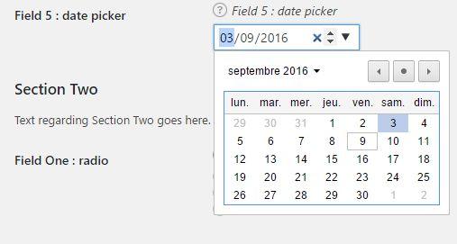 """un """"date picker"""" dans les réglages d'une extension WordPress"""