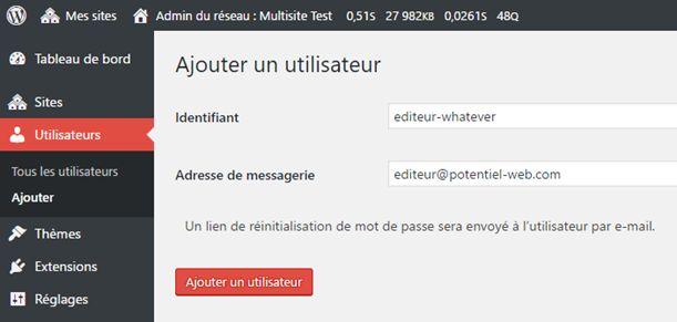 WordPress multisite : ajouter un utilisateur