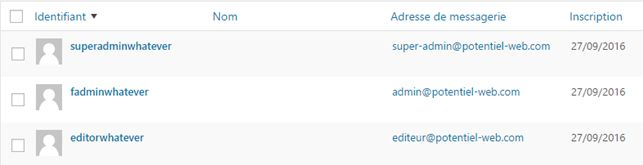 WordPress multisite : liste des utilisateurs