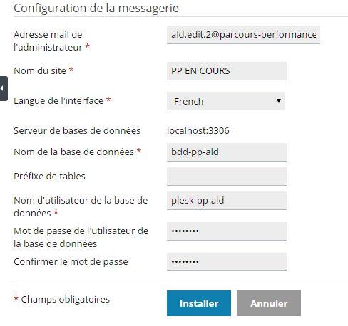 Plesk : paramètres d'installation de WordPress - partie basse