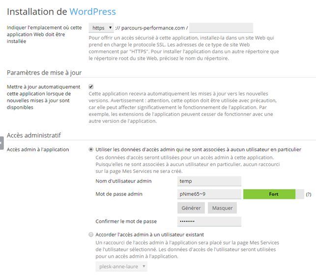 Plesk : paramètres d'installation de WordPress - partie haute