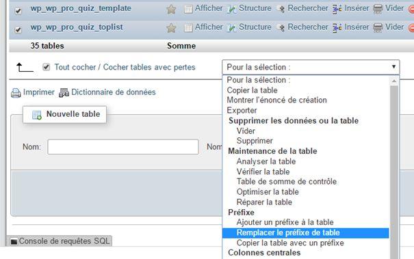 WordPress : changer le préfixe de base de données (2)