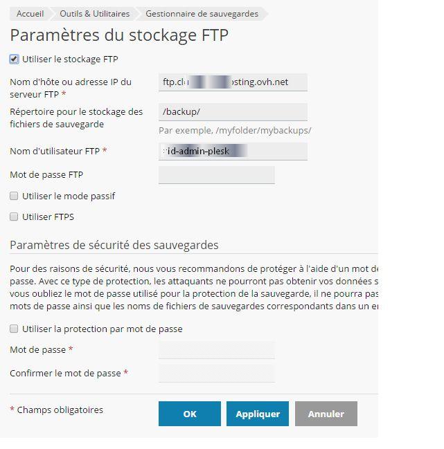 Plesk : paramétrage du stockage FTP