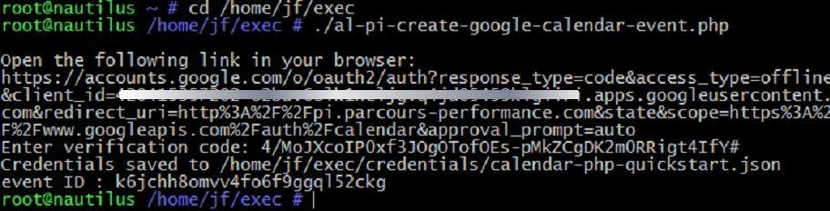 Google API : autorisation OAuth en mode ligne de commande