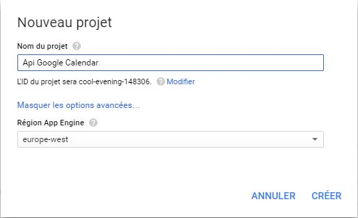 Créer un projet dans la console Google Api