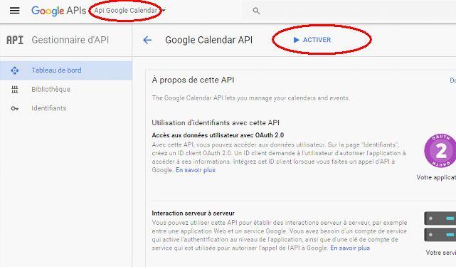 Activer l'API Google Calendar