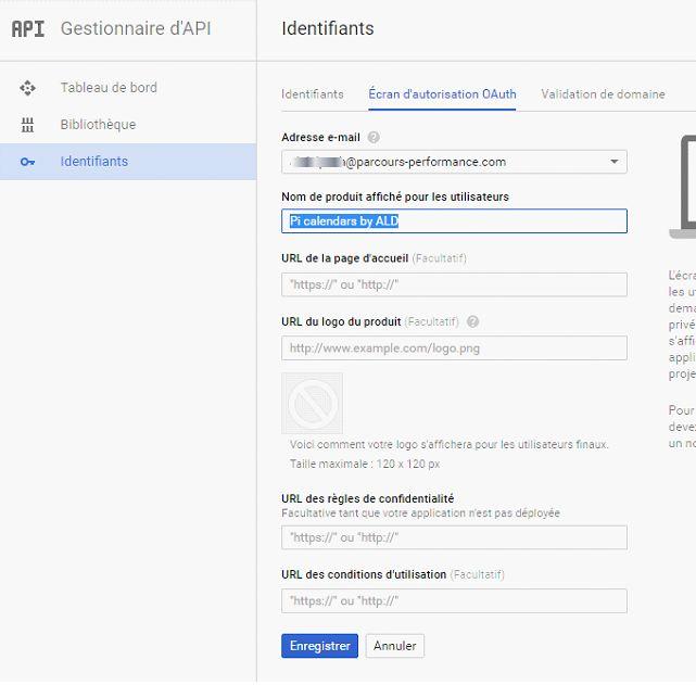 Google calendar API : écran d'autorisation OAuth