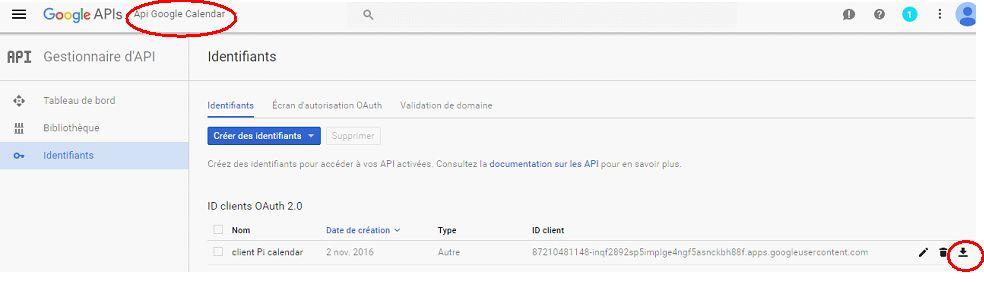 Google calendar API : télécharger la clé JSON