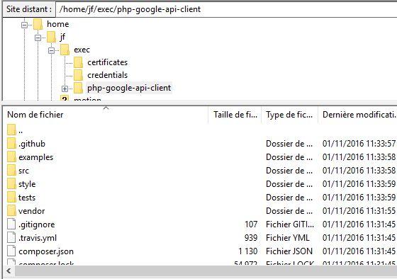 Organisation des fichiers pour utiliser l'API Google
