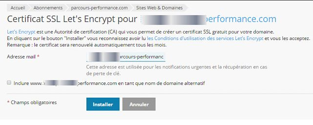 Plesk : régler le certificat gratuit Let's Encrypt