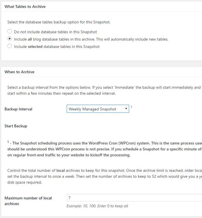 Réglage d'une sauvegarde planifiée en FTP sur Snapshot Pro - écran 2