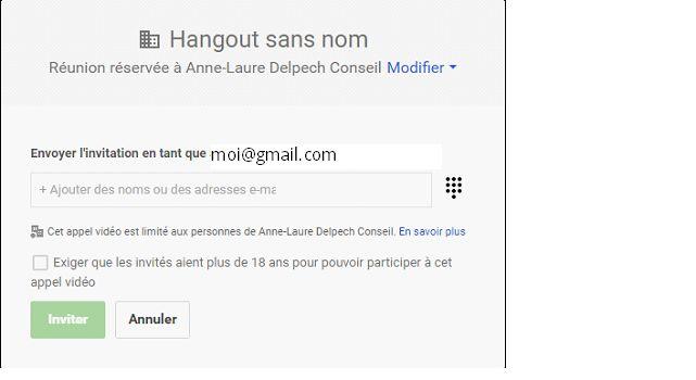 Inviter au Hangout