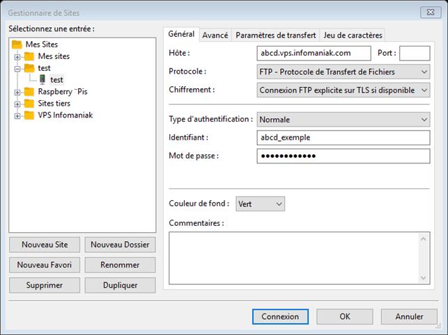 Réglage de Filezilla pour un accès FTP à un hébergement Infomaniak
