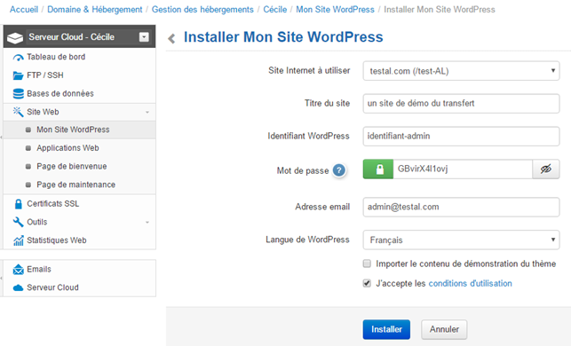 Infomaniak : installer un site WordPress