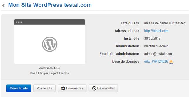 """Infomaniak : Configurer le site WordPress - lien de """"prévisualisation"""""""