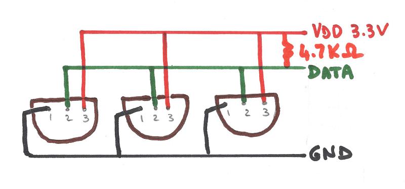 Câblage de plusieurs DS18B20 en série