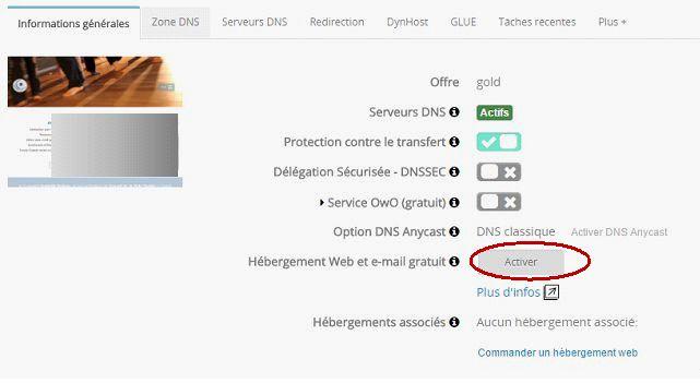 OVH : activer l'hébergement web et mail gratuit