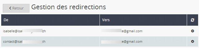 Copie d'écran onglet email, gestion des redirections, de l'espace client OVH
