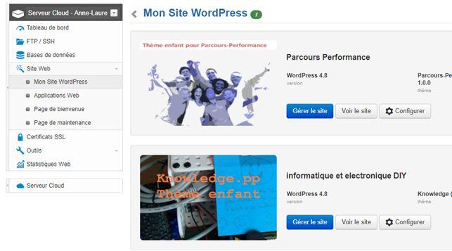 "Tableau de bord infomaniak : menu ""Mon site WordPress"""